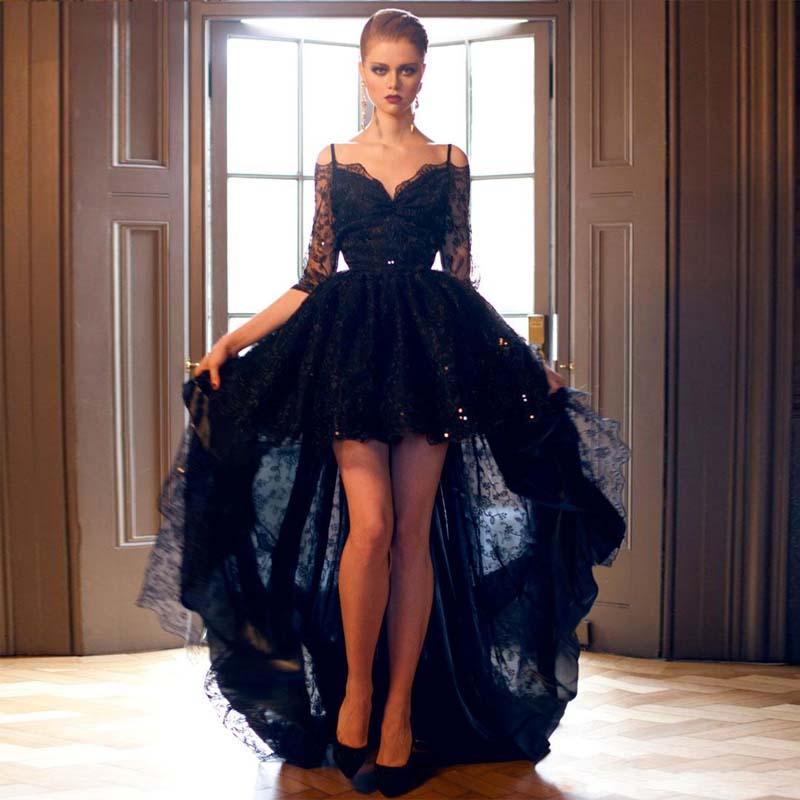 Черный половина одежда с длинным рукавом высокая низкая платья выпускного вечера бретельках Кружева официальная Вечеринка платье бретель