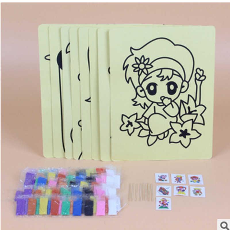 20 Pcs Gratis Pengiriman 16 K Pasir Warna Seni Lukisan Kartu Anak-anak dengan Latar Belakang Kuning Pendidikan Menggambar Mainan Pola acak
