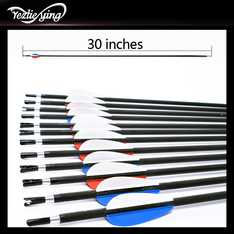 High Quality 12pcs 30inch Carbon Arrows Spine 550 Red Blue White feathers Fits Compound bow/Recurve Bow outdoor Hunting Archery