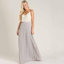 2924dcc16 Grey Chiffon Skirts Summer Beach Style Chiffon Skirts A Line Floor Length  Long Maxi Pleated Skirt Personalized Women Skirts