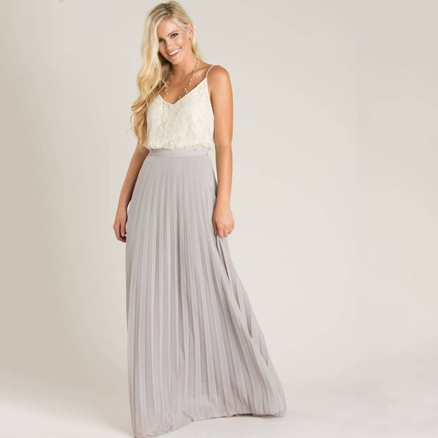 c9890c88df5e Grey Chiffon Skirts Summer Beach Style Chiffon Skirts A Line Floor Length Long  Maxi Pleated Skirt Personalized Women Skirts