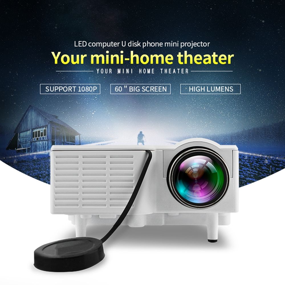 UC28 Mini LCD LED Projector 400 Lumens Supports 1080P HD Home Theater Projector with Built-in Speaker uc28 1080p hd 400lm 16770k led lcd projector with hdmi vga slots