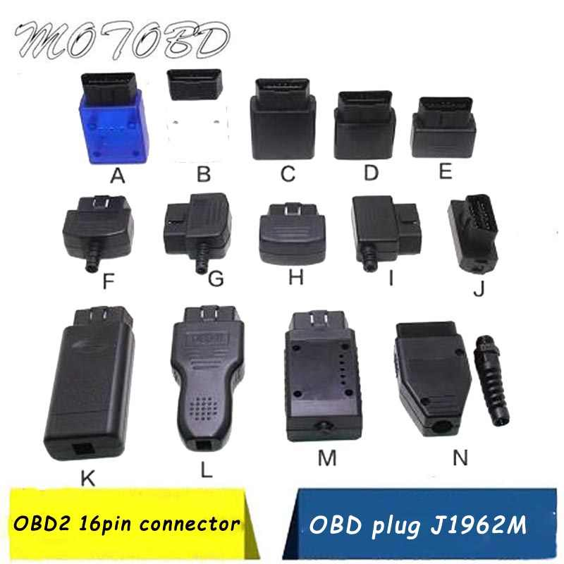 New 2019 14 Type Optional CASE ELM327 OBD2 Connector J1962m Plug with Enclosure Obd 16pin 12V  Male Connector