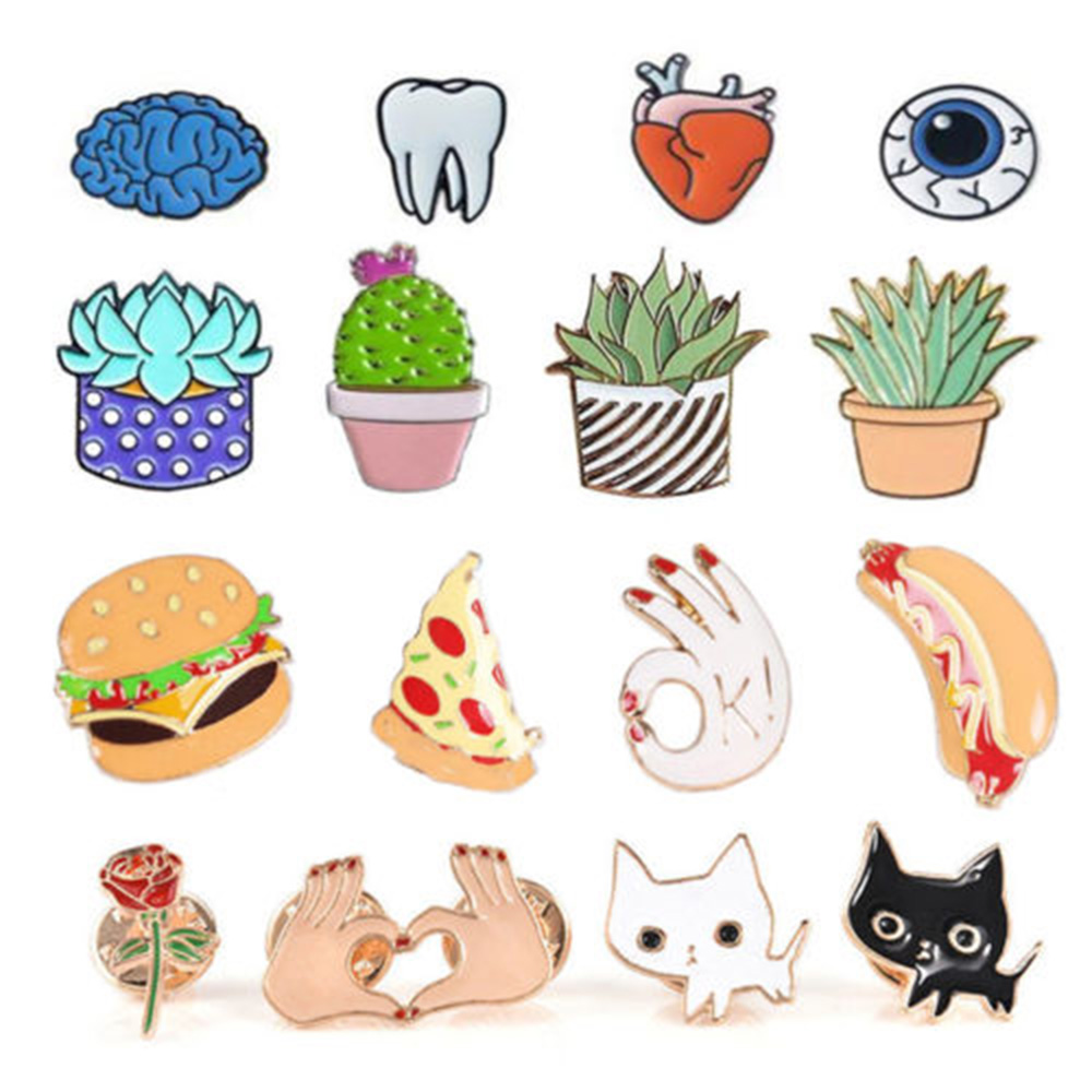 1 Pc New DIY Lovely Collar Pin Badge Corsage Cartoon Plant Succulents Brooch Cactus Pins Cute Jewellery Nice Gift For Girl
