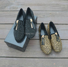 Summer Italy Designed Gold Black Rhinestone Party Dress Men Flats Shoes Casual Outdoor Loafers Shoes High Quality Oxfords Man