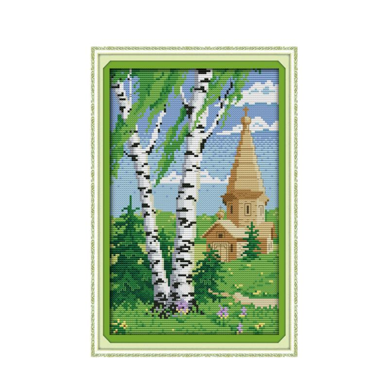 Cross stitch beautiful scenery in spring suite, small Berlin DMC embroidery thread manual embroidery decoration painting