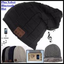 אלחוטי Bluetooth V4.2 כפה סרוג בתוספת קטיפה חורף משובץ כובע אוזניות רמקול מיקרופון יד משלוח מוסיקה Mp3 קסם חם חכם כובע