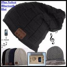 Sem fio bluetooth v4.2 gorro de malha mais veludo inverno xadrez chapéu fone de ouvido microfone mão livre música mp3 magia quente inteligente boné
