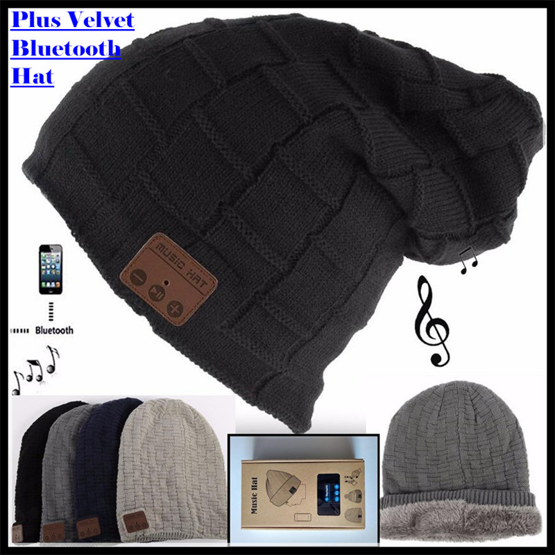 Беспроводная вязаная шапка Bluetooth V4.2 с бархатной подкладкой, зимняя клетчатая шапка, гарнитура с микрофоном, свободная от руки музыка, Mp3, вол...