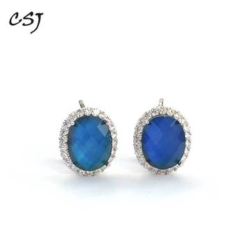 CSJ Created Diaspore Zultanite Earring Oval 8*10mm Fine Jewelry For Women Lady Gift Color Change Stone Under Temperature