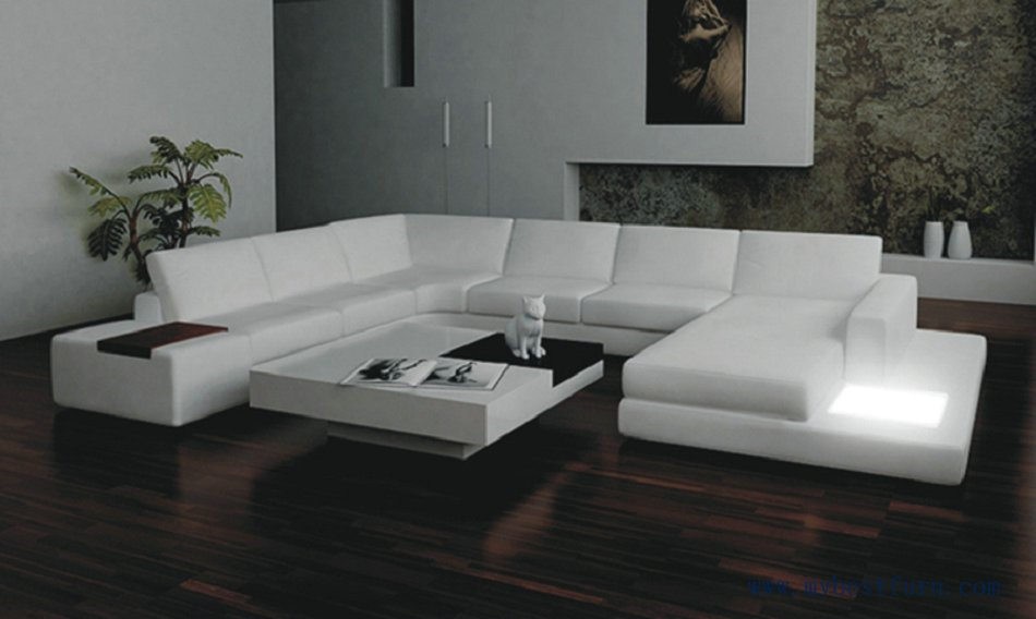Free shipping moden leather sofa with light coffee table u shaped for large house furniture for Model de salon moderne