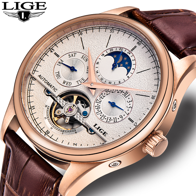 LIGE Brand Men watches Automatic mechanical watch tourbillon Sport clock leather Casual business wristwatch Gold relojes