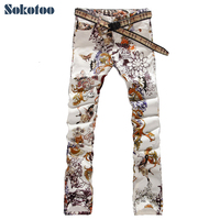 2013 Men S Fashion Jeans Male Slim Colored Drawing Flower Printed Long Trousers Painted Pattern Print