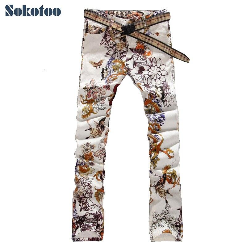 ФОТО Sokotoo Men's fashion jeans male slim colored drawing flower printed long trousers painted pattern print denim pants