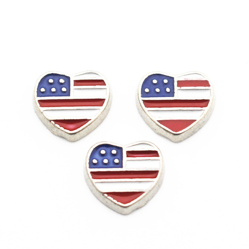 Flag Floating-Charms Memory Glass Metal Enamel Heart Love Necklace Jewelry 10pcs/Lot