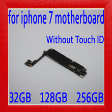 32 GB/128 GB/256GB para iphone 7 placa base sin Touch ID 100% Original desbloqueado para iphone 7 lógica juntas
