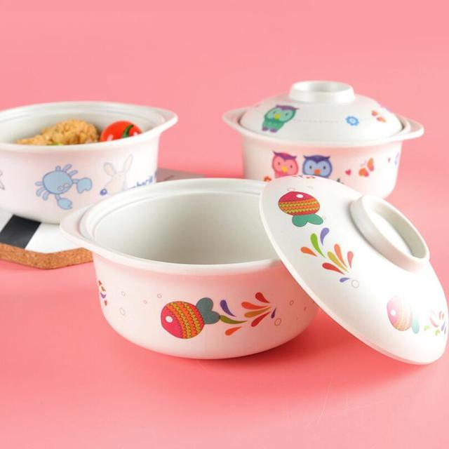 Bamboo Fiber Baby Feeding Bowl With Cover Childrenu0027s Tableware Set Cartoon Ears Snack Bowl Dishes Kids & Bamboo Fiber Baby Feeding Bowl With Cover Childrenu0027s Tableware Set ...