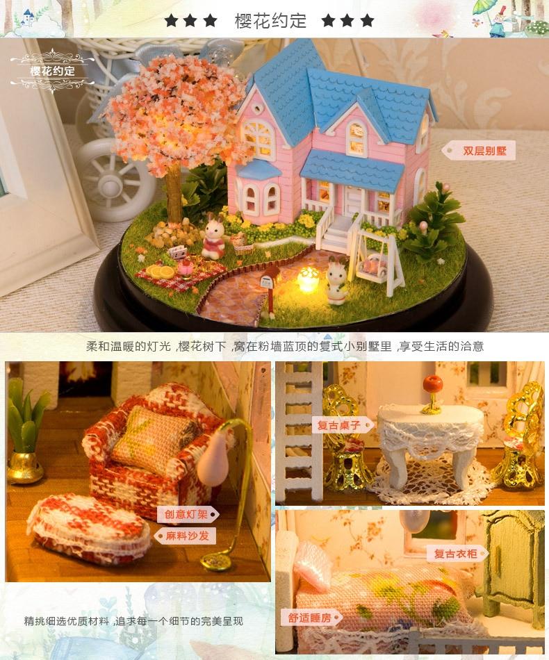 doll houses farm garden wooden miniature home assembling dollhouse room diy Furniture glass ball doll house toys kit new 2