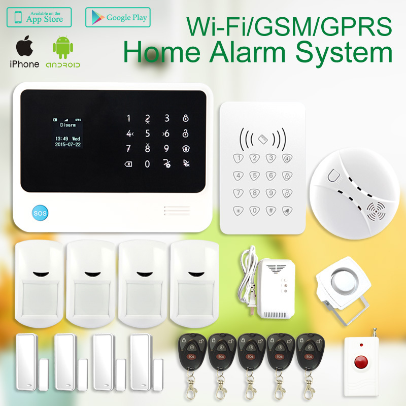 433mhz  Wireless WIFI GSM SMS Home thief Security System alarm iphone ipad android Control WiFi Alarm System with RFID keypad wifi gsm home security alarm system ios android control rfid keypad 433mhz wireless intelligent door window sensor pir sensor