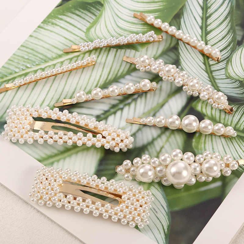 2019 Fashion Pearl Hair Clip For Women Elegant Korean Design Pearl Gold Silver Color Hair Clips Hairpin Hair Styling Accessories