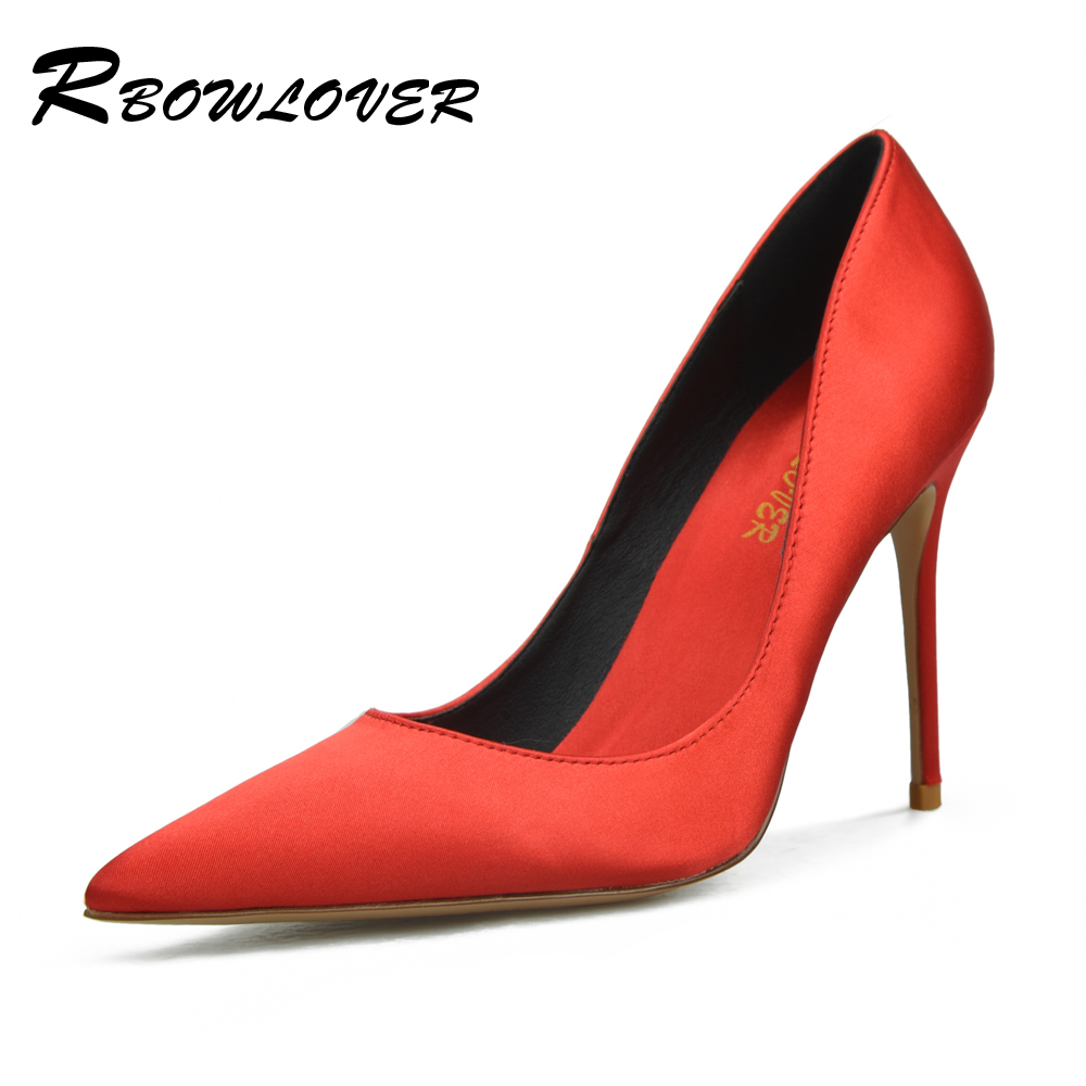 RBOWLOVER Women Pumps High Heels Quality Silk Material Thin  Point Toe Shoes All-Match Big Size Party Wedding Pumps high quality iss g200 1 pb niagara2250 60 pci sales all kinds of motherboard