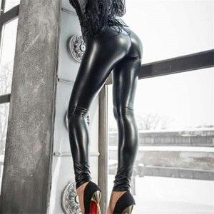 Image 3 - עור מפוצל חותלות שחור מכנסי עיפרון לדחוף את ירך חדש סתיו נשים מעובה סקיני גבוהה מותניים דקים בתוספת גודל