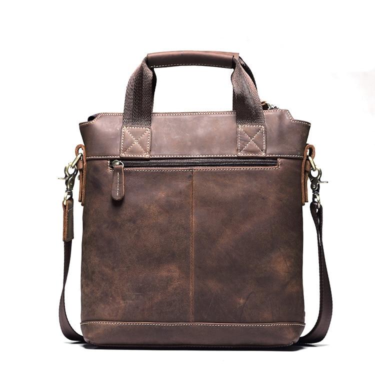 ФОТО Teemzone  Mens Retro Crazy Horse Genuine Leather Vintage Man's Handbag Tote + Singler SHoulder Bag big enough for 9.7
