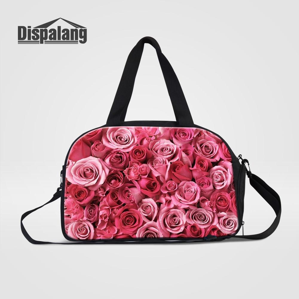 Dispalang Red Rose Women Travel Shoulder Bags Flower Print Weekend Bag For Teenage Girls Fashion Hand Luggage Overnight Handbags