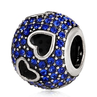 Hollow Heart Charm 925 Sterling Silver Blue Crystal Hearts Charm Beads for Pandora Charms Style Jewelry Bracelets