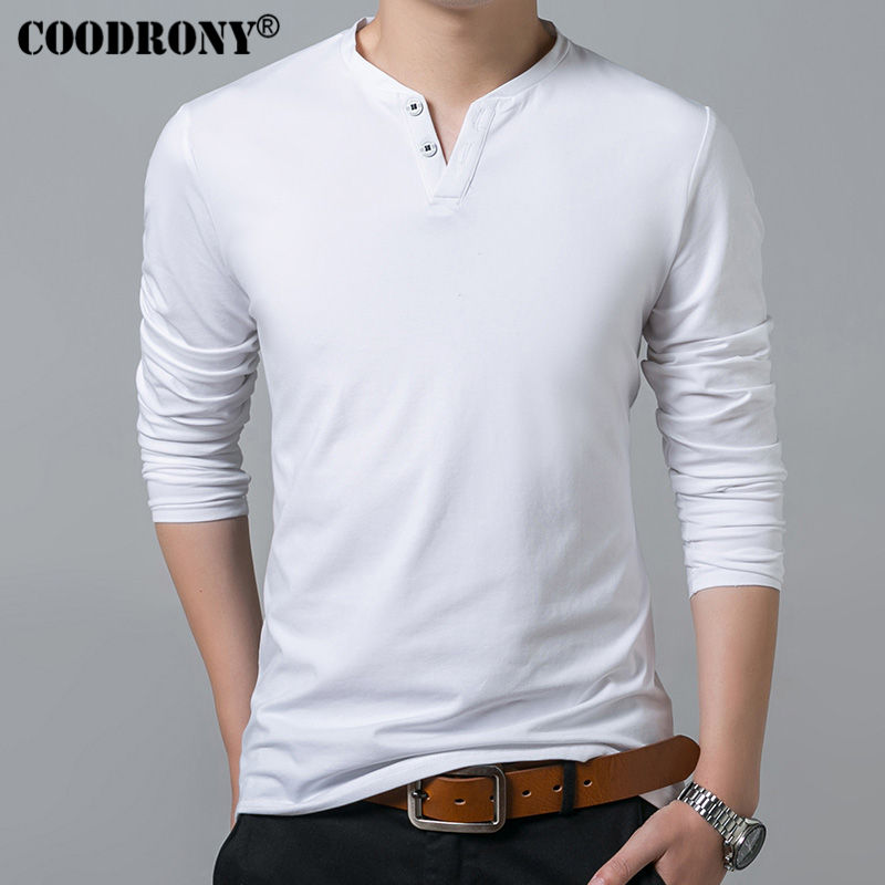 Coodrony T-shirt Men Spring Autumn New Long Sleeve Henry Collar T Shirt Men Brand Soft Pure Cotton Slim Fit Tee Shirts 7625 #5