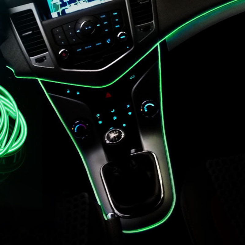 DUU 3M Auto Car Interior <font><b>LED</b></font> EL Wire Rope Tube Line flexible neon light glow el salon flat <font><b>12V</b></font> <font><b>strip</b></font> Pathway With Adapter