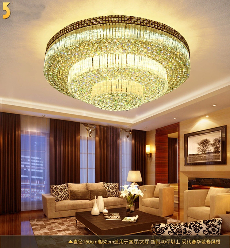 Modern Simple LED Ceiling Lamps With A Golden Light Crystal Lamps - Golden living room