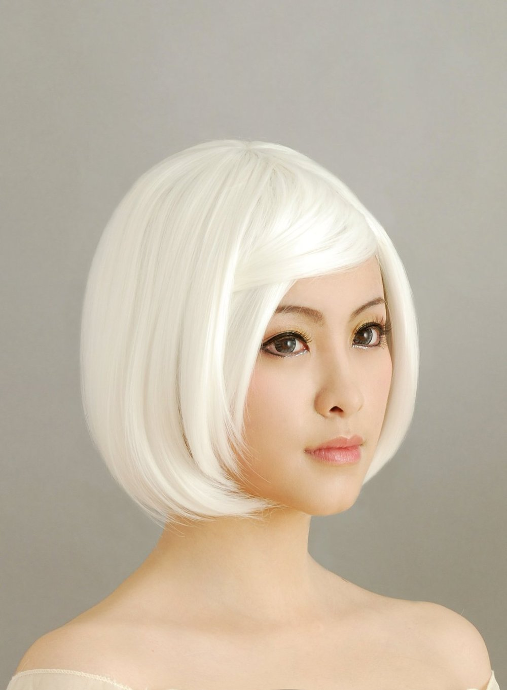 White Short Straight BOB Cosplay Wig Heat Resistance Anime Show   Party  Wig  Performance Hair Full Wigs + Free Cap 53f674171a3f