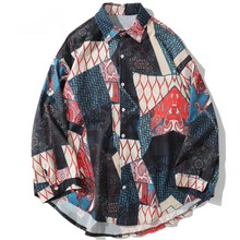 Autumn Japanese Ukiyo Geometric Patchwork Long Sleeve Shirts 2019 Hip Hop Casual Streetwear Men Women Shirt