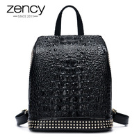 Gold Rivets Crocodile 100% Genuine Leather Women Daily Backpack Alligator Large Holiday Knapsack Girls Schoolbags Travel Bags