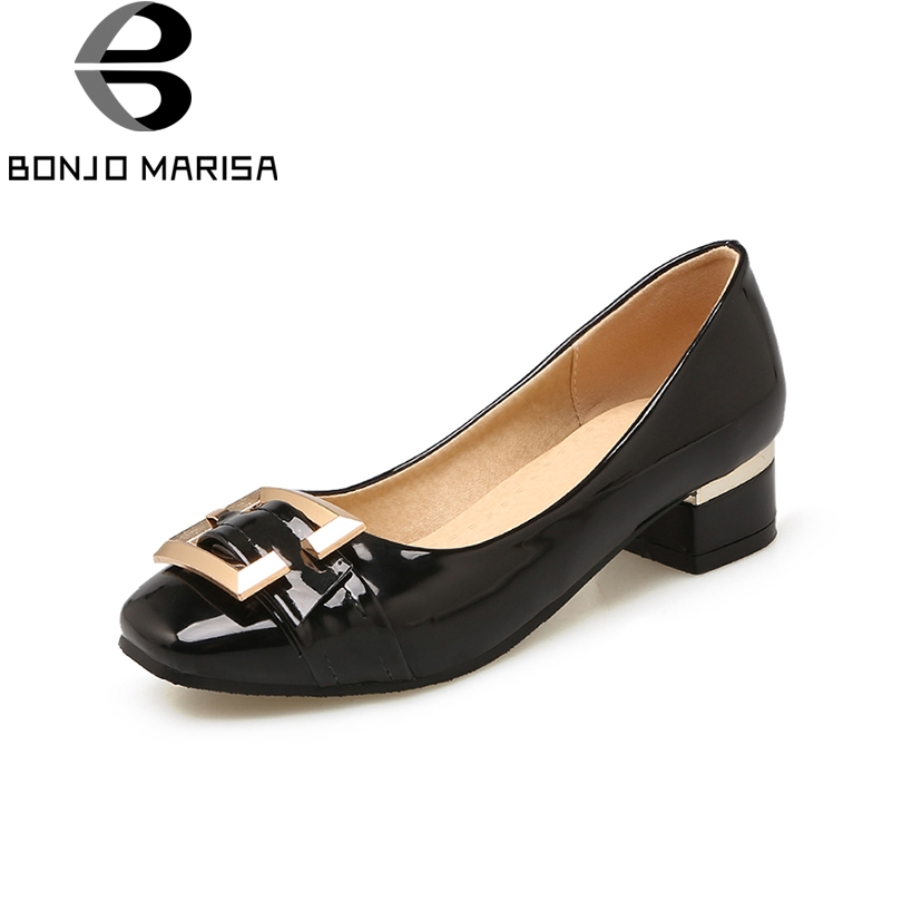 BONJOMARISA large size 32-48 customized slip on buckle women shoes pumps chunky low heel ...