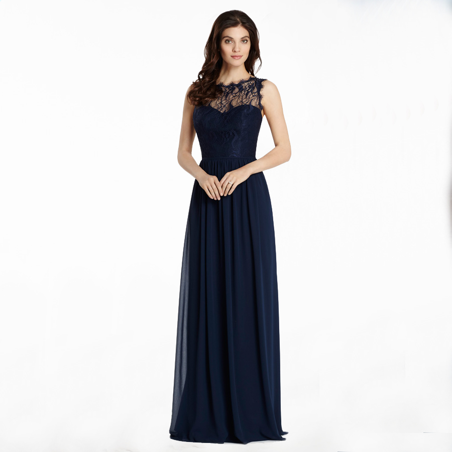 Bf604 free shipping navy long evening dresses sexy chiffon for How to dress for an evening wedding