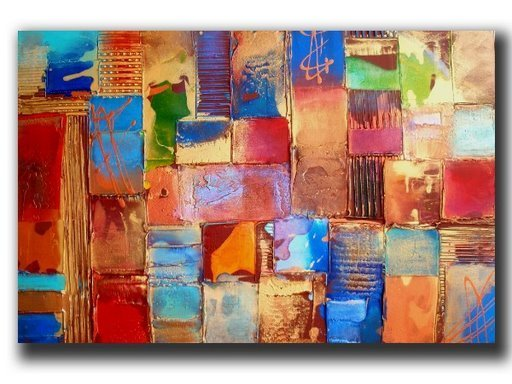 hand-painted free shipping Color wall  gold brick home decoration abstract  oil painting  on canvas mixorde wood Framed
