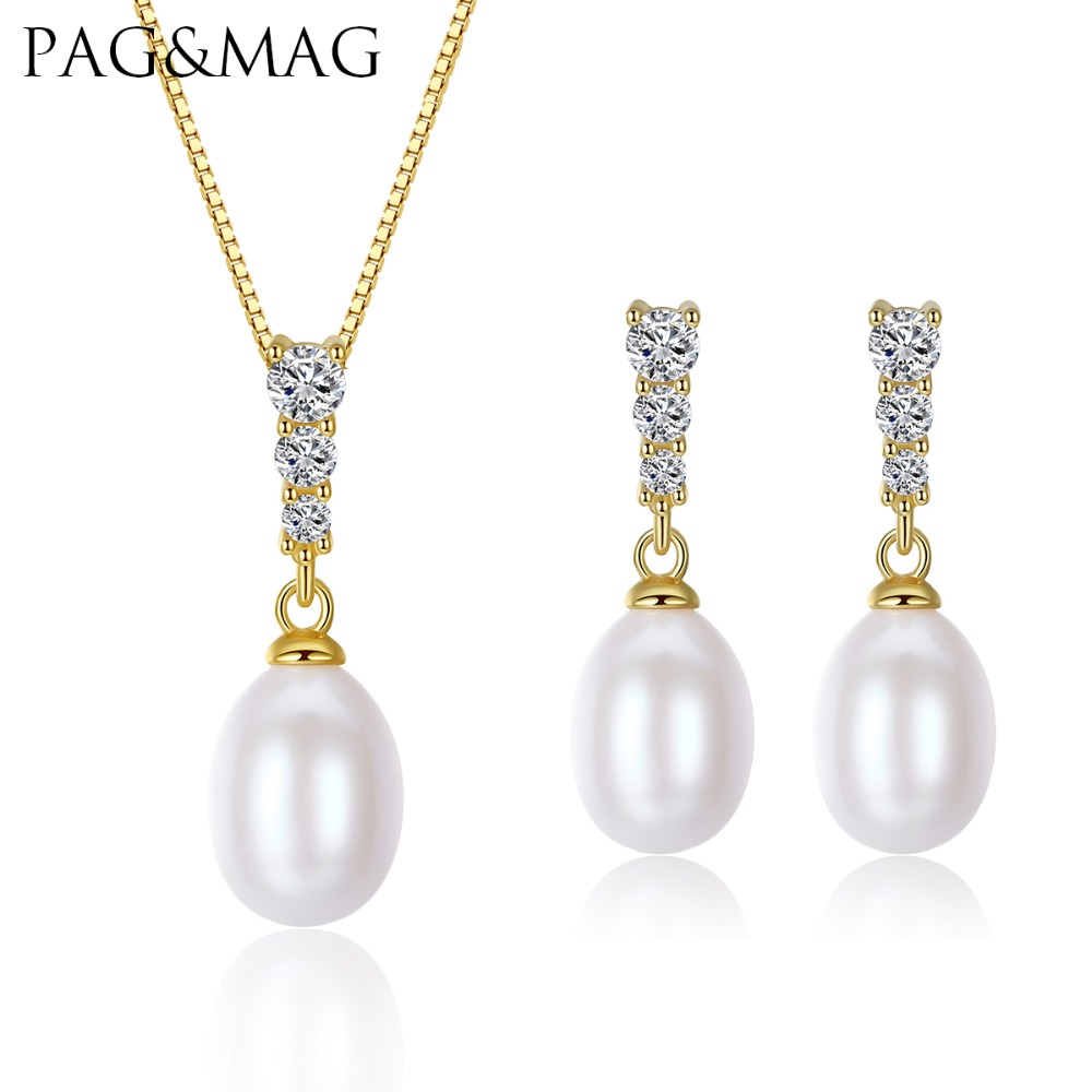 PAG&MAG Brand 925-Sterling-Silver Women Jewelry Sets 8-9mm Natural Freshwater Pearl Earrings & Necklace Factory Wholesale fine jewelry sets 925 sterling silver natural freshwater pearls for women heart shaped white pendant necklace earrings 8 9mm
