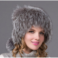 Hot 2018 autumn and winter fox leather ear hat woman leather fox outdoor warm snow bomber hat female Russian style HHY 13