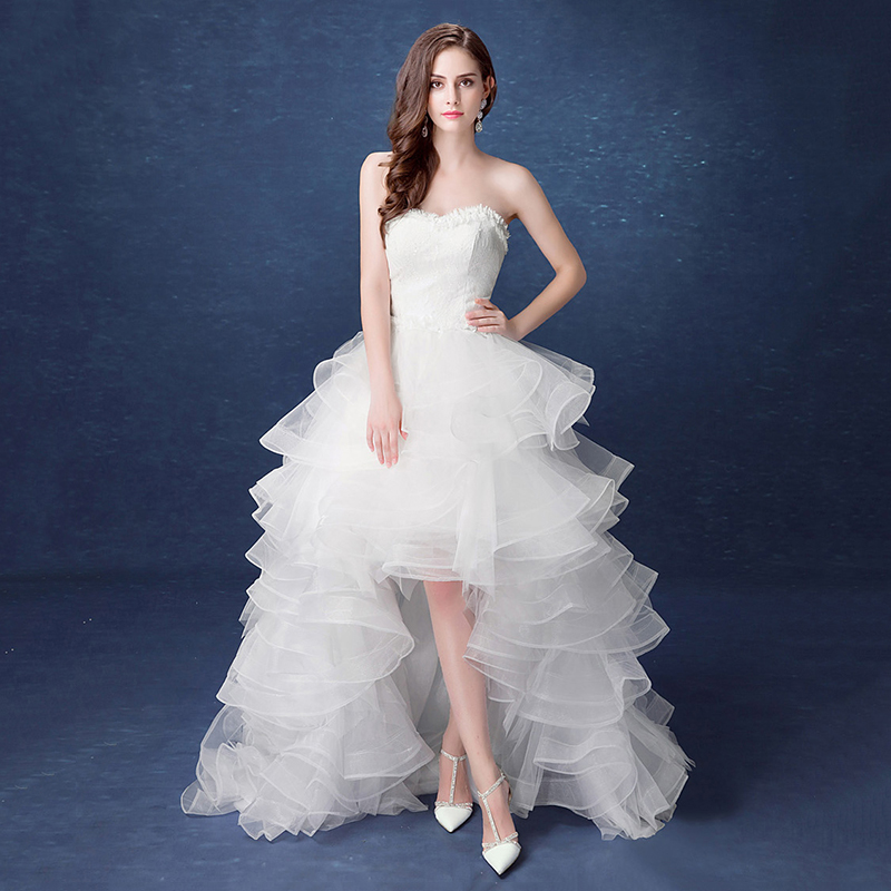 2019 New Front Short Long Back Strapless Wedding Dress Sweet Bride Dress With Train Customized Wedding Gown Vestido De Noiva L