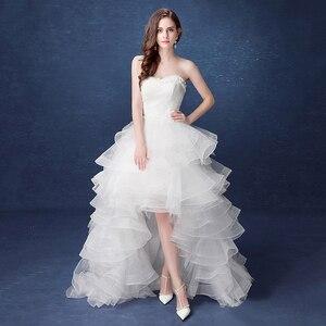 Image 1 - 2019 New Front Short Long Back Strapless Wedding Dress Sweet Bride Dress With Train Customized Wedding Gown Vestido De Noiva L