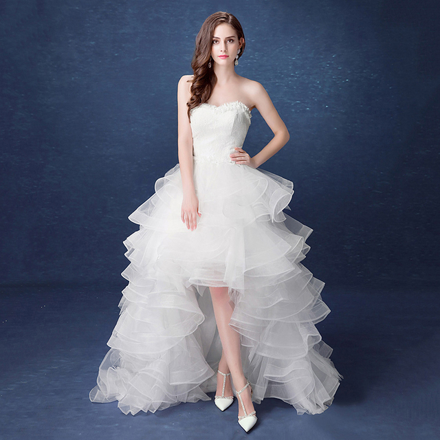 2019 New Front Short Long Back Strapless Wedding Dress Sweet Bride Dress With Train Customized Wedding Gown Vestido De Noiva L