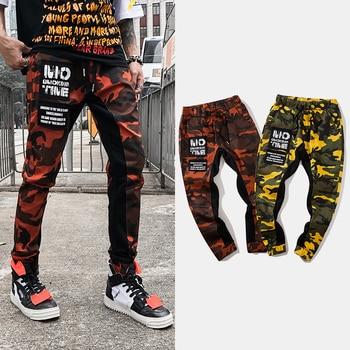 acac30a43ffbae Модные уличные джоггеры брюки мужские свободные камуфляжные Сращенные дизайнерские  брюки карго лоскутные брюки в стиле хип-хоп