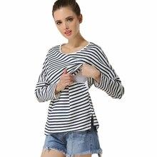 Cotton stripe suckling breastfeeding pregnant women postpartum bottoming shirt premama care blouse grossesse pregnancy clothes girl