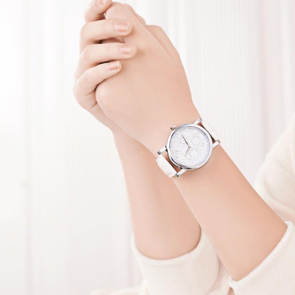 Women's Quartz Watch Fashion Leather Strap Watches Women Clock Ladies Dress Wristwatch 6 Colors Black/Red/White/Skyblue/Orange kingsky new fashion small women watches famous design quartz watch black pu leather strap wristwatch