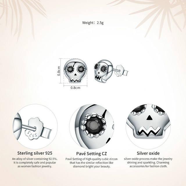 ORIGINAL 925 STERLING SILVER SKULL EARRINGS