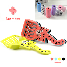 kitty kitten shovel Pet Pooper Scooper Dog puppy cat litter Pickup Tool Cleaning Supplies with 20pcs/roll poop/garbage bag free