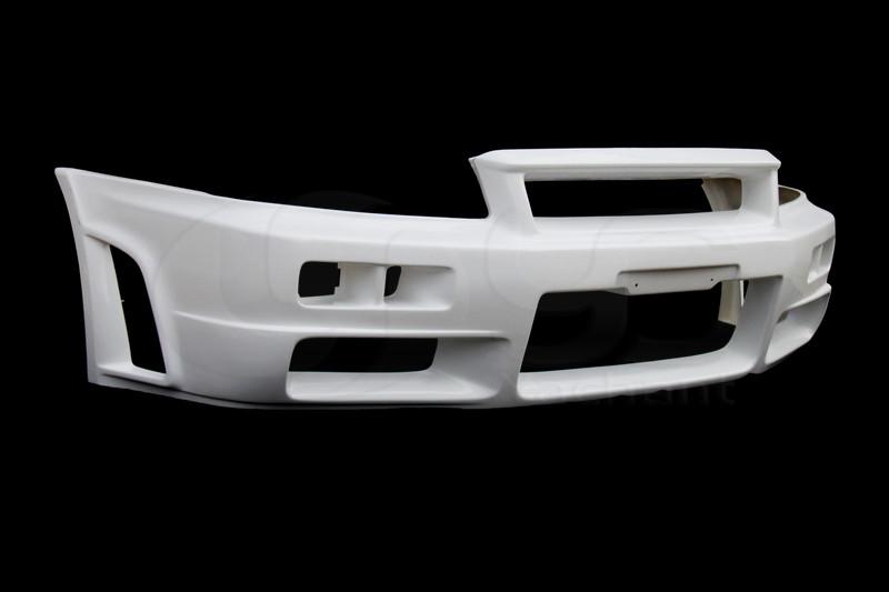 1999-2000 Nissan Skyline R34 GTT 2D 4D GTR-Style Front Bumper FRP (6)