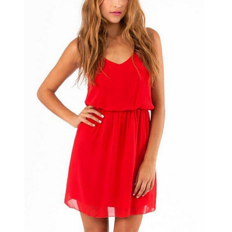 Summer Party Dress Women's Casual Chiffon V-Neck Beach Sleeveless Dress Women Loose Mini Dresses Vestidos